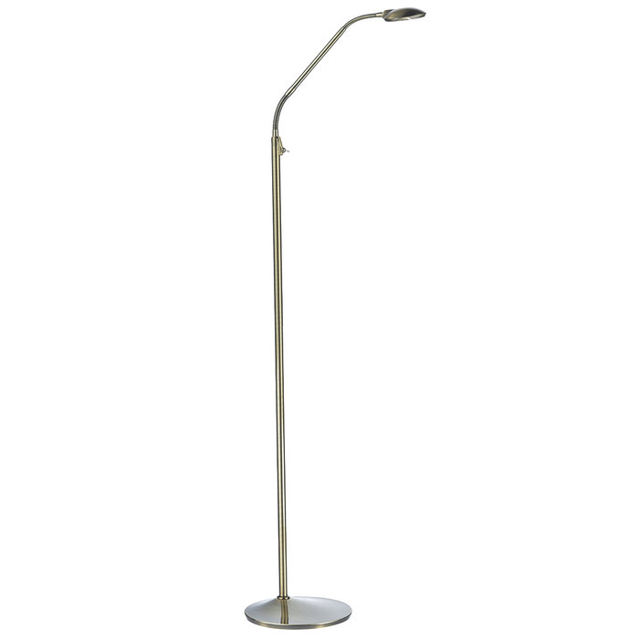 Aysha - LED Adjustable Neck Reading Floor  Lamp - Antique Brass