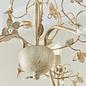 Leaf - Ornate Flower 5 Light Chandelier  - Cream & Gold with Beading