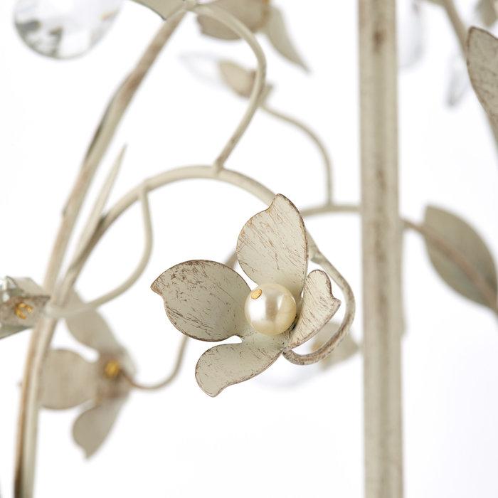 Leaf - Ornate Flower 3 Light Chandelier  - Cream & Gold with Beading