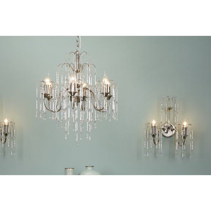 Danny - Classic Cascading Waterfall Crystal Wall Light - Polished Nickel