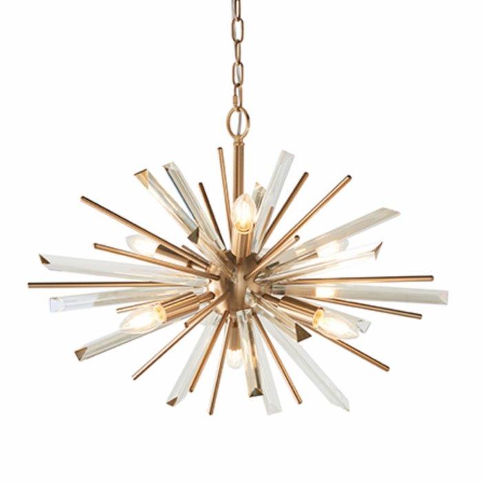 Welburn - Champagne Glass & Brass Starburst Feature Light