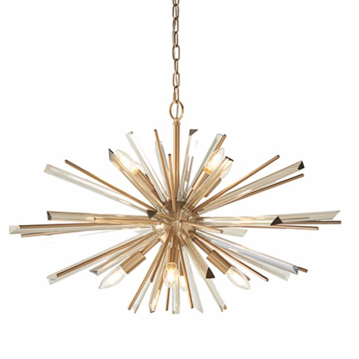 Welburn - Large Starburst Pendant with Champagne Glass Shards & Brass