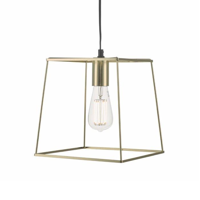 Cube - Polished Gold Cage Pendant Light