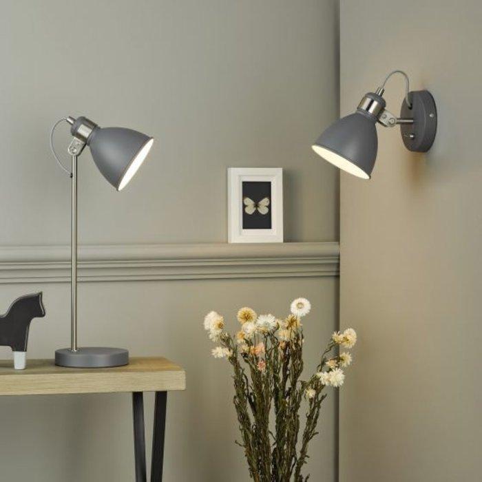 Freddy - Nordic Dark Grey & Satin Chrome Desk Lamp