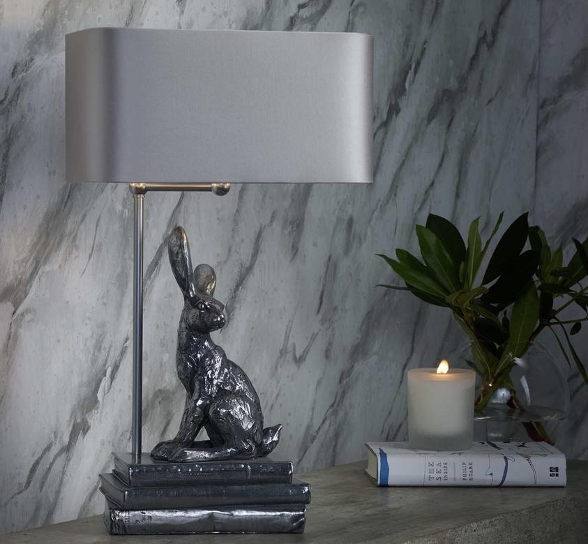 David Hunt Pewter Hopper Table Lamp