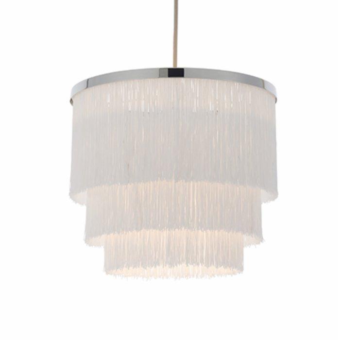 Brompton -  Luxury Tiered White Fringe Feature Pendant - Medium