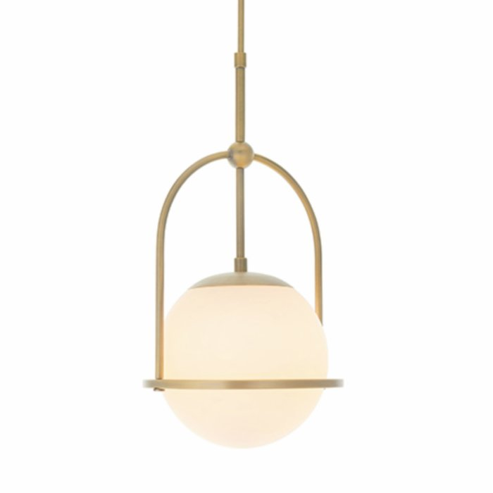 Scalby -  Mid Century Pendant with Opal Glass - Antique Brass