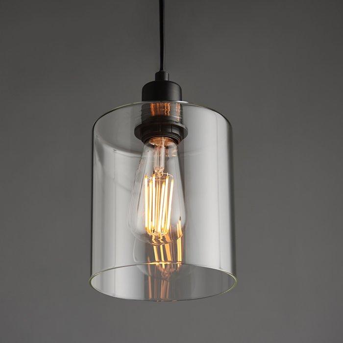 Teri - Contemporary Matt Black and Glass Pendant Light