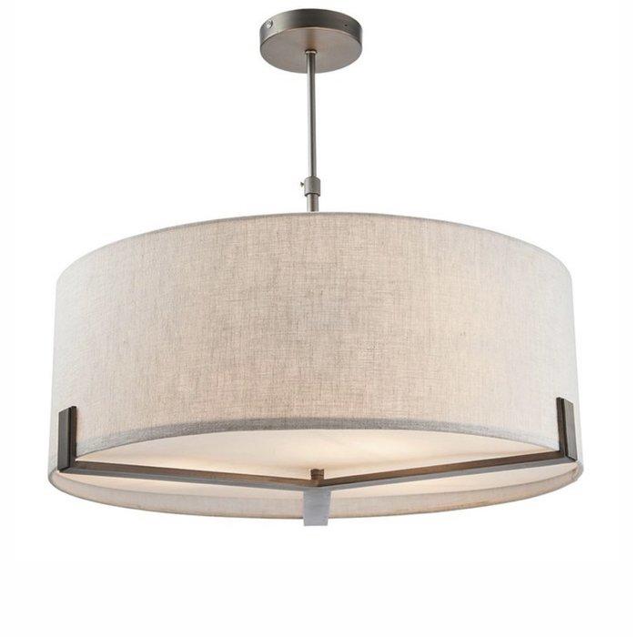 Mayfair - 3 Light Drum Hotel Style Feature Light - Bronze & Natural Linen