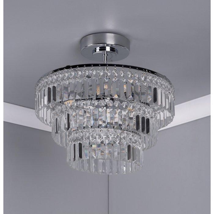 Erte - Semi Flush Art Deco Crystal Chandelier