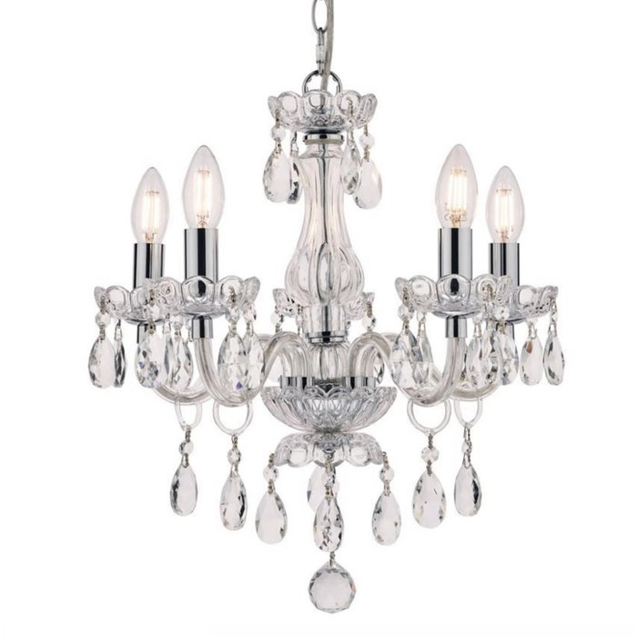 Harriet – Crystal & Polished Chrome Chandelier with 5 Lights – Laura Ashley