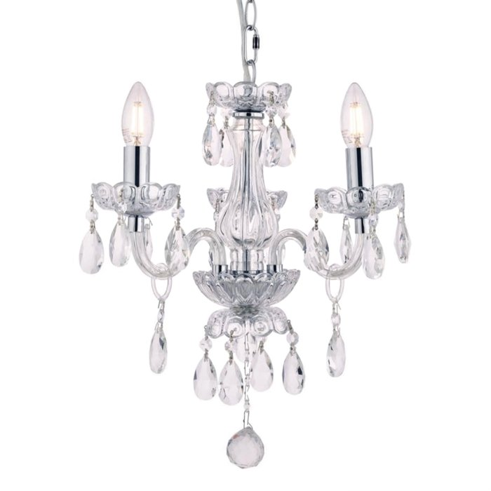 Harriet – Crystal & Polished Chrome Chandelier with 3 Lights – Laura Ashley