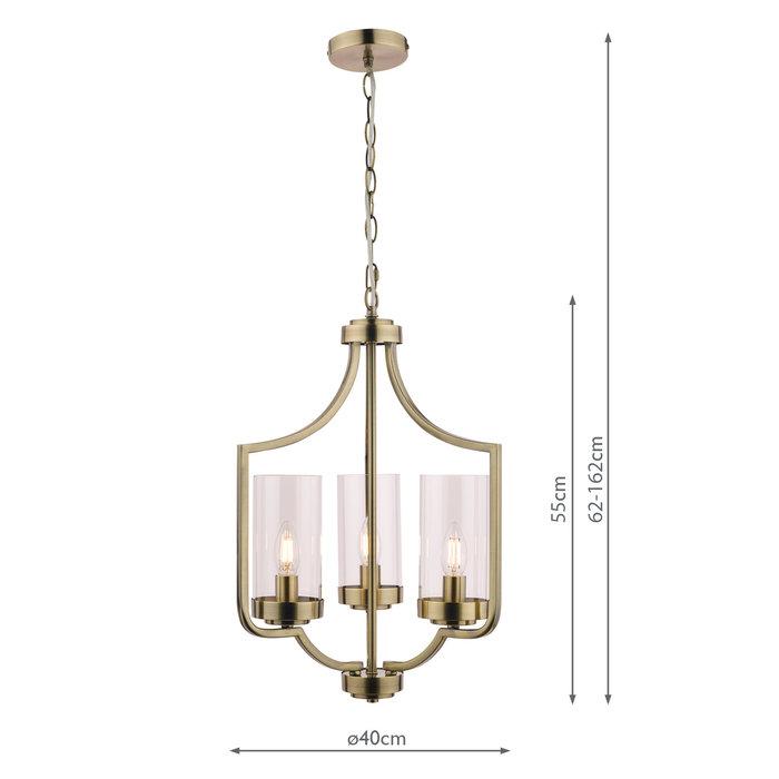 Joseph – 3 Light Antique Brass Chandelier – Laura Ashley