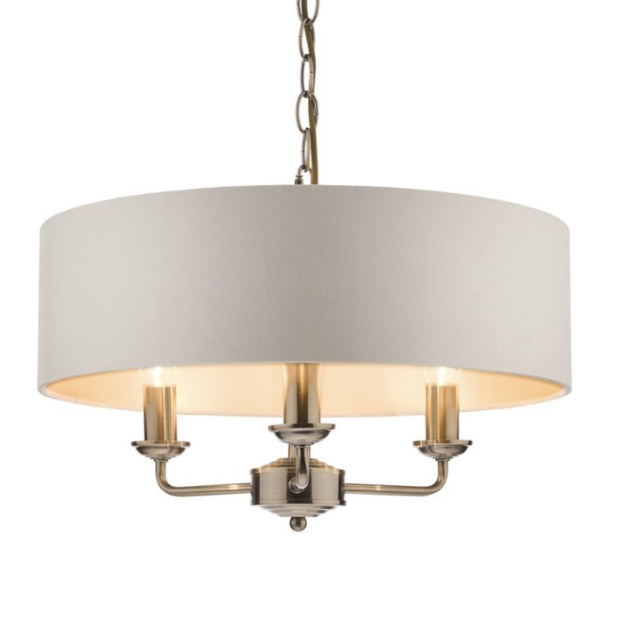 Sorrento – Antique Brass 3 Light Ceiling Light with Ivory Shade – Laura Ashley