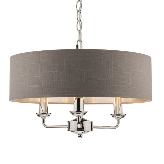 Sorrento – Nickel 3 Light Ceiling Light with Charcoal Shade – Laura Ashley
