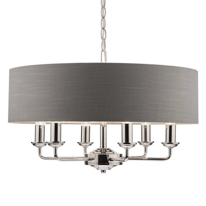 Sorrento – Nickel 6 Light Ceiling Light with Charcoal Shade – Laura Ashley