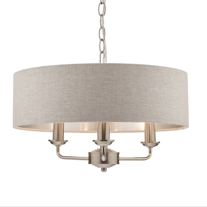 Sorrento – Brushed Chrome 3 Light Ceiling Light with Natural Shade – Laura Ashley