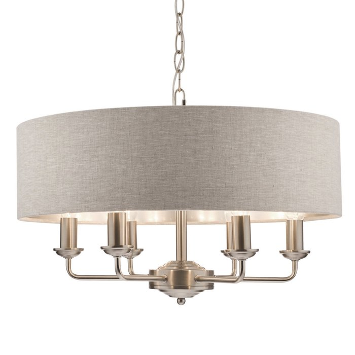 Sorrento – Brushed Chrome 6 Light Ceiling Light with Natural Shade – Laura Ashley