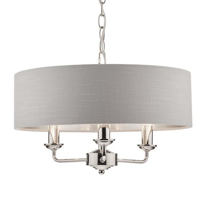 Sorrento – Polished Nickel 3 Light Ceiling Light with Silver Shade – Laura Ashley