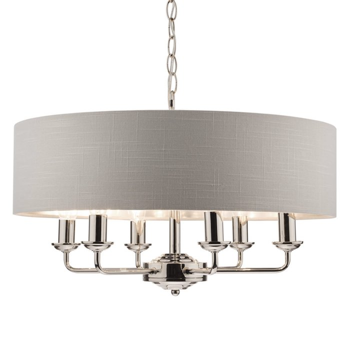Sorrento – Polished Nickel 6 Light Ceiling Light with Silver Shade – Laura Ashley