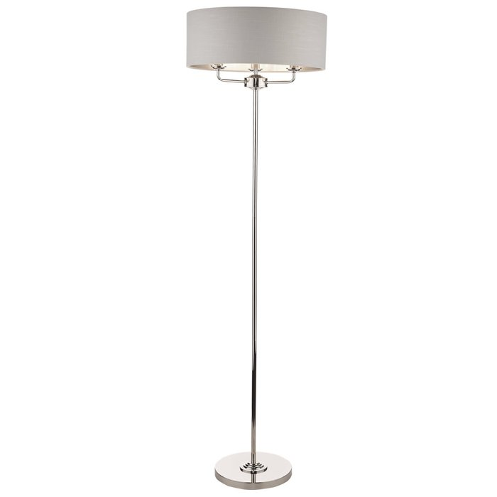 Sorrento – Polished Nickel Floor Lamp with Silver Shade – Laura Ashley