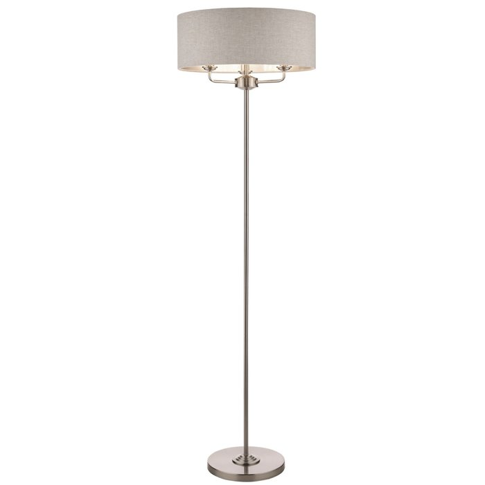 Sorrento – Brushed Chrome Floor Lamp with Natural Shade – Laura Ashley