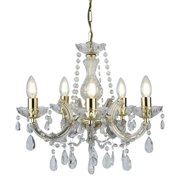 Marie Theresa - Classic Crystal 5 Light Chandelier with Polished Brass