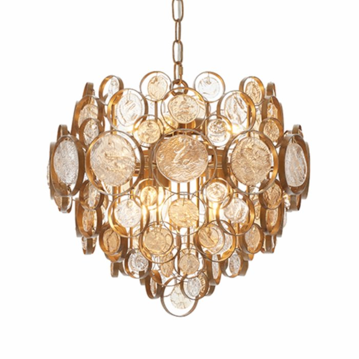 Middleham - Antique Gold Chandelier with Clear and Amber Glass Details