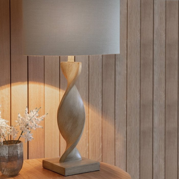 Arthur - Wooden Twist Table Lamp and Natural Linen Shade