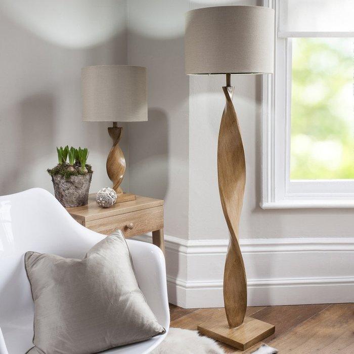 Arthur - Wooden Twist Floor Lamp and Natural Linen Shade