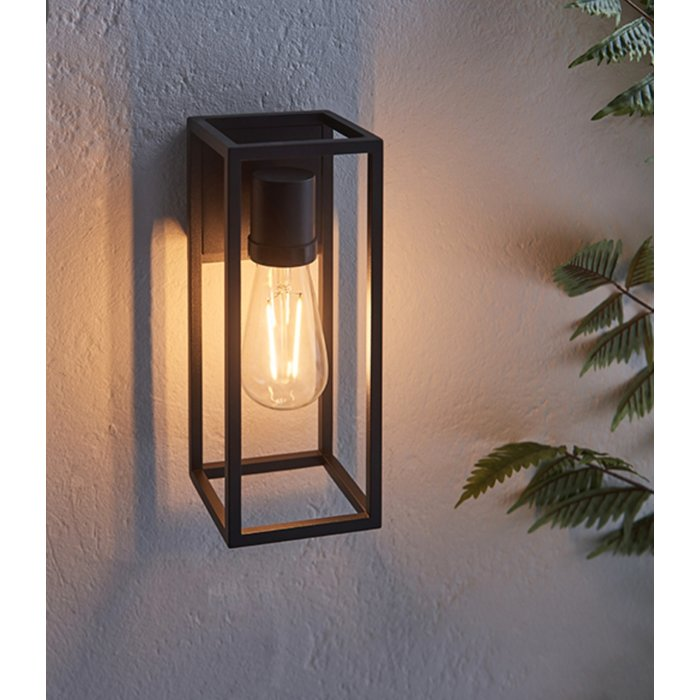 George – Black Open Cage Outdoor Wall Light