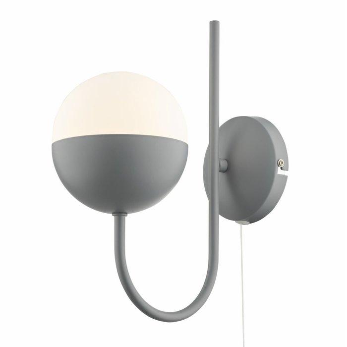 Curve - Opal Ball Matt Grey Wall Light