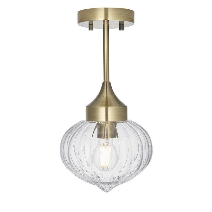 Addington -  Brass and Glass Semi Flush Ceiling Light