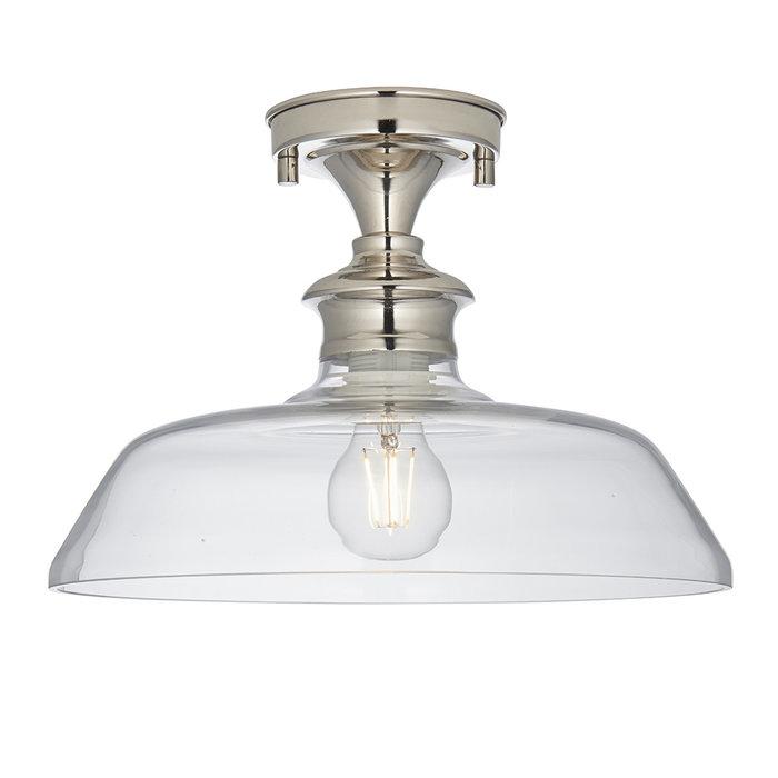 Barford - Nickel and Glass Semi Flush Ceiling Light