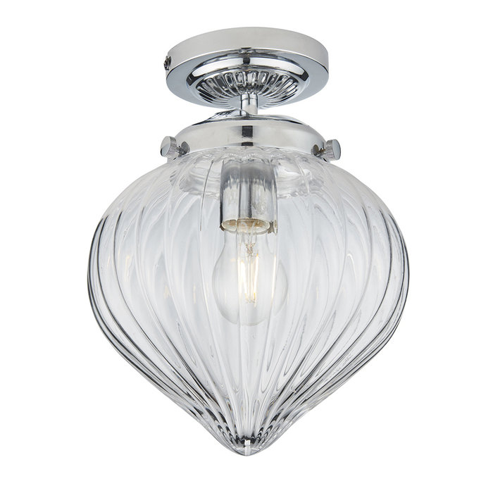 Cheston - Flush Ceiling Light with Ribbed Glass Shade