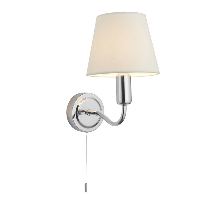 Conway - Chrome LED Wall Light with Ivory Shade