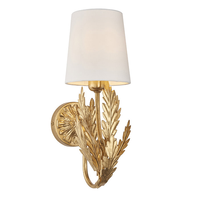 Delphine - Gold LED Wall Light with Ivory Shade