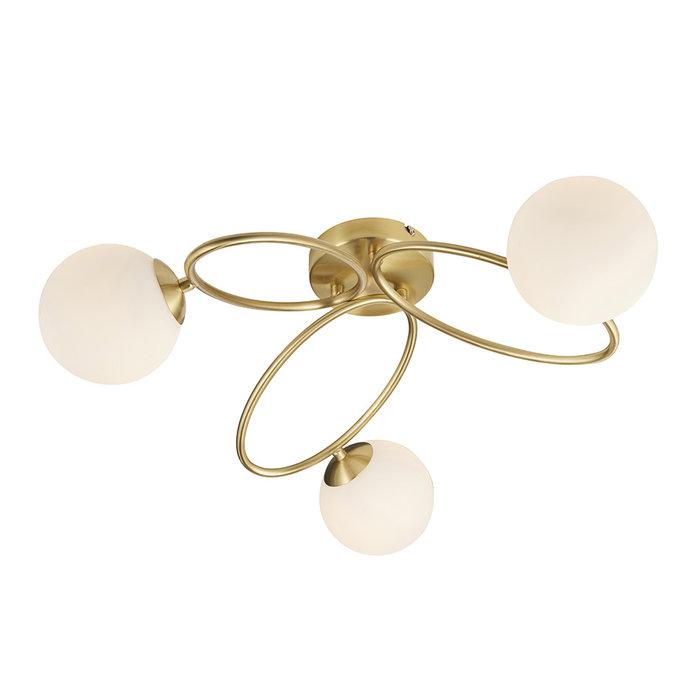 Ellipse  - Brass and Opal 3 Light Semi Flush Ceiling Light