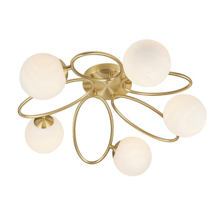 Ellipse - Brass and Opal 5 Light Semi Flush Ceiling Light