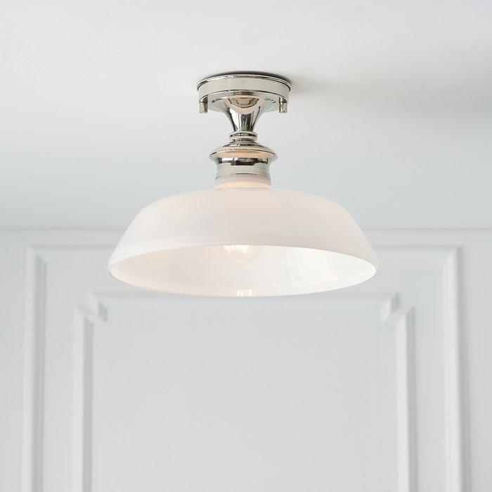 Barford - Nickel and Opal Semi Flush Ceiling Light