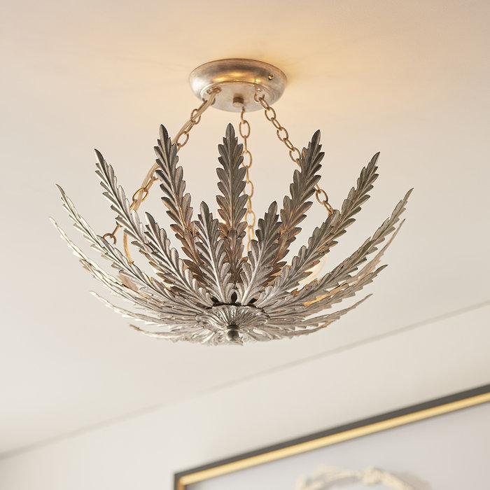 Delphine - 3 Light Flush Ceiling Light in Silver