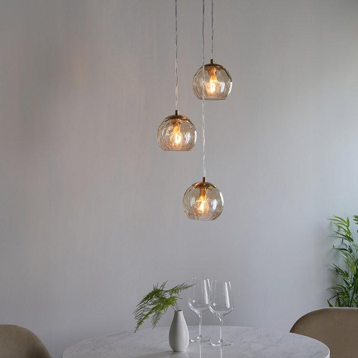 Dimple  - Brass and Glass 3 Light Pendant Light