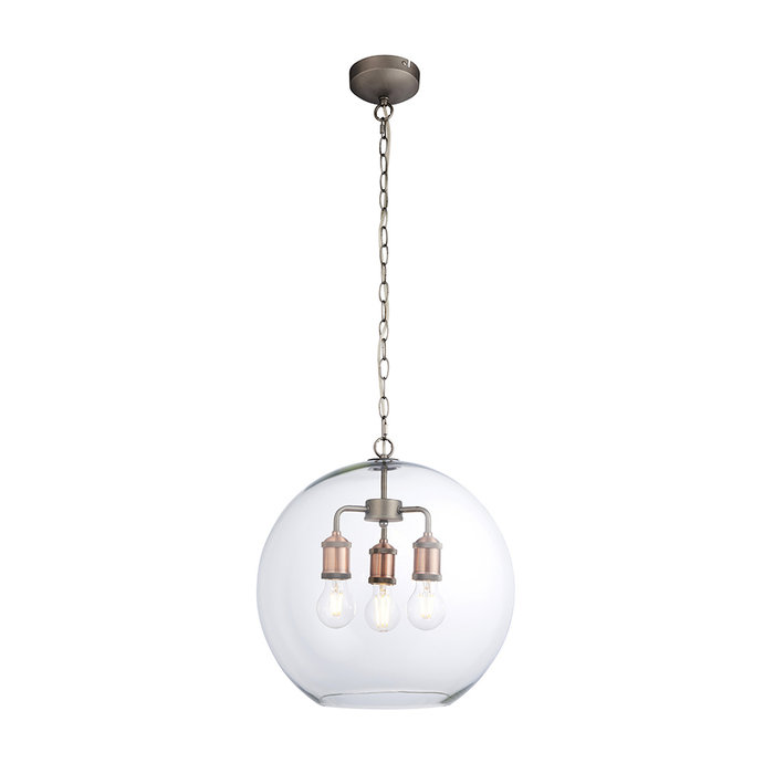 Hal - 3 Light Pendant Light with Glass Bowl Shade