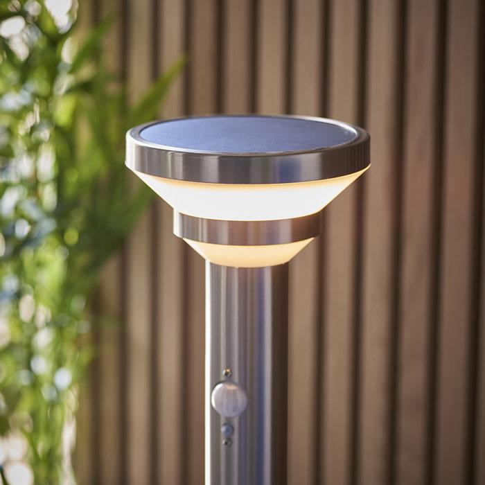 Halton - Steel Outdoor Solar-Powered Bollard with Motion Sensor