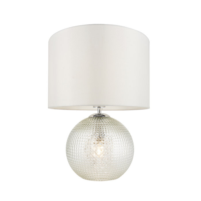 Knighton - Glass Base 2 Light Table Lamp with White Shade