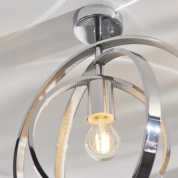Merola - Chrome and Glass Single Semi Flush Ceiling Light