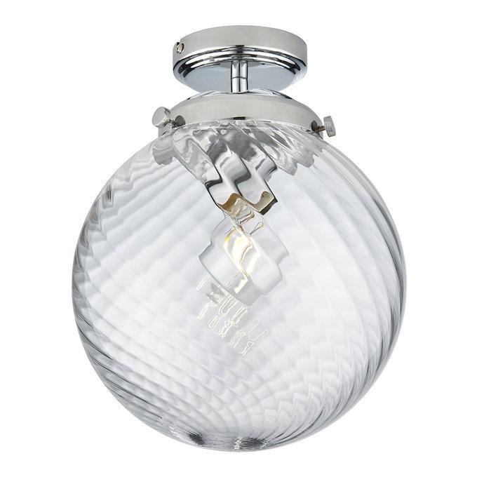 Milston - Chrome and Glass Flush Ceiling Light