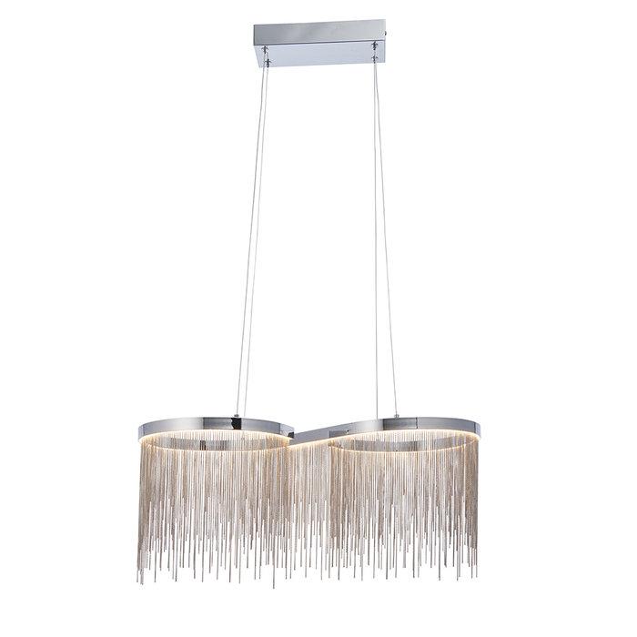 Orphelia - Curved Silver Fringe Pendant Light