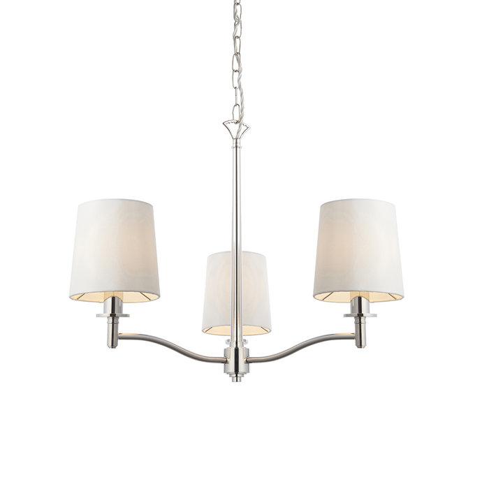 Ortona - Nickel 3 Light Pendant Light with Ivory Shades