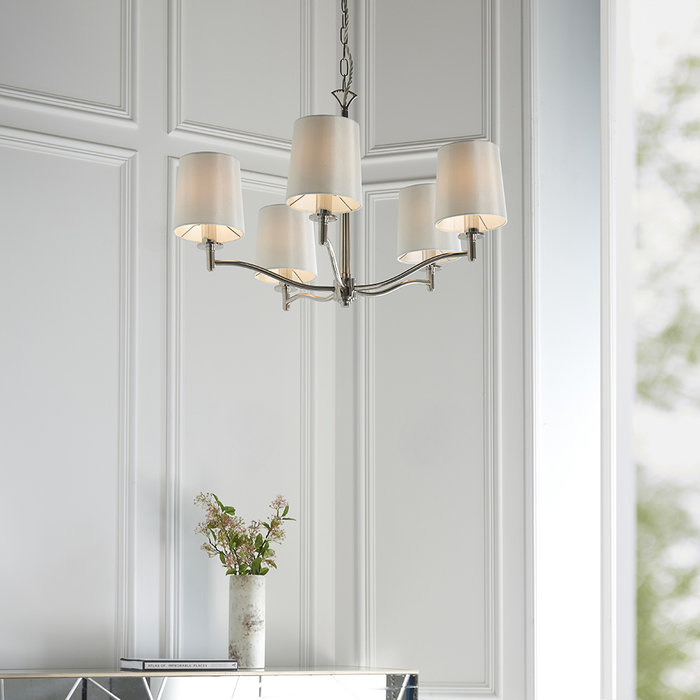 Ortona - Nickel 5 Light Pendant Light with Ivory Shades